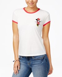Mighty Fine Disney Juniors' Minnie Patch Graphic Ringer Tee White