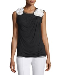 Valentino Sleeveless Floral Embellished Draped Top Black