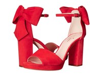 Kate Spade Halle Poppy Red Kid Suede Women's Shoes Pink