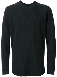 H Beauty And Youth. Waffle Pattern Knit Jumper Black