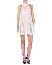 Fendi Flowerland Mock Neck Cocktail Dress White