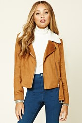 Forever 21 Faux Suede Moto Jacket Brown