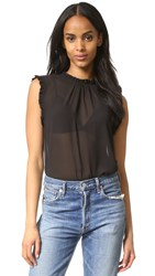 Wayf Ruffle Top Black