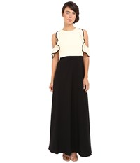 Jill Stuart Color Block Popover Gown With Cold Shoulder Bisque Black Women's Dress Beige
