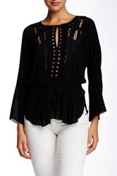 Twelfth St. By Cynthia Vincent Chikat Embroidered Blouse Black