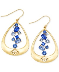 Sis By Simone I Smith Blue Crystal Teardrop Earrings In 18K Gold Over Sterling Silver
