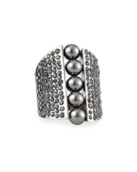 Signature Pearly And Crystal Cocktail Ring St. John Collection Ruth Dark Grey
