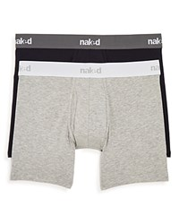 Naked Essential Stretch Cotton Boxer Briefs Pack Of 2 Peacoat Heather