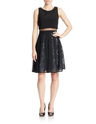 Betsy And Adam Lace Popover Dress Black Sky