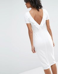 Asos Ruffle Back Midi Dress Ivory Cream