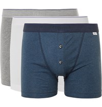 Schiesser Ludwig Three Pack Stretch Cotton Jersey Boxer Briefs Storm Blue