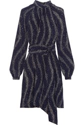 Vanessa Seward Cecily Printed Silk Crepe De Chine Turtleneck Mini Dress Midnight Blue
