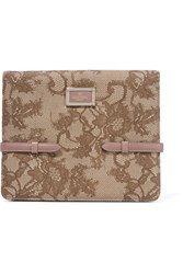 Valentino Leather Trimmed Canvas Jacquard Ipad Case Mushroom