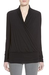 Women's Amour Vert 'Angela' Long Sleeve Wrap Front Top Black