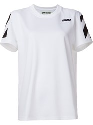 Off White Embroidered Logo T Shirt White