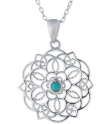 Macy's Manufactured Turquoise Filigree Pendant Necklace In Sterling Silver