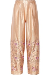 Anna Sui Embroidered Satin Wide Leg Pants