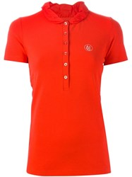 Armani Jeans Frilly Collar Polo Shirt Red