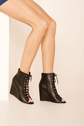 Forever 21 Lace Up Wedge Sandals