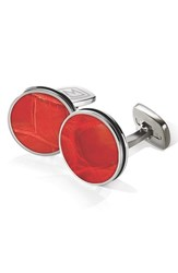 Men's M Clip Alligator Cuff Links Stainless Steel Red