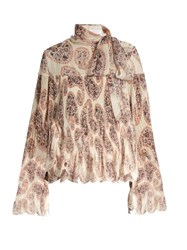 See By Chloe Floral Paisley Print Tie Neck Blouse Ivory Multi