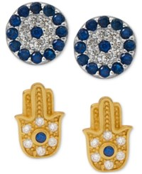 Giani Bernini 2 Pc Set Cubic Zirconia Evil Eye And Hamsa Stud Earrings In 18K Gold Plated Sterling Silver Only At Macy's