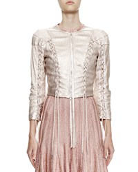 Alexander Mcqueen Cropped Metallic Leather Jacket Rose Gold Size 46