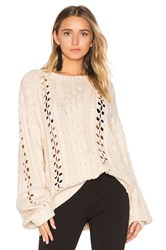 For Love And Lemons Knitz Wythe Bell Sleeve Sweater Tan