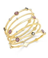 Inc International Concepts Gold Tone 5 Pc. Pink Stone And Crystal Bangle Bracelet Set Only At Macy's