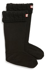 Women's Hunter Original Tall Cable Knit Cuff Welly Socks Black