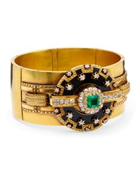 Estate Victorian Emerald And Diamond 5 Section Bangle