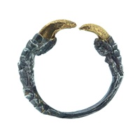 Tessa Metcalfe Single Claw Ring With Gold Nails Oxidised Black