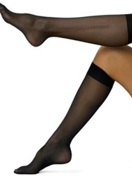 Wolford Satin Touch 20 Sheer Knee Highs Sand Black