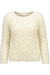 Valentino Cable Knit Wool Sweater Cream