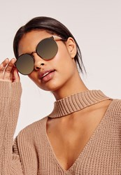 Missguided Large Round Metal Frame Sunglasses Gold Gold