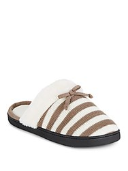 Isotoner Striped Faux Fur Slippers Smokey Taupe