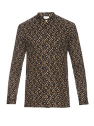Paul Smith Floral Print Mandarin Collar Cotton Shirt Brown Multi