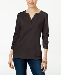 Karen Scott Long Sleeve Henley Top Only At Macy's Chocolate