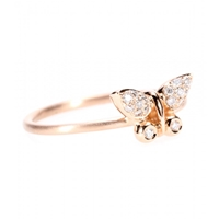 Roberto Marroni 18Kt Rose Gold Butterfly Ring With White Diamonds Mat Red Gold Polish Red Gold