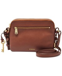 Fossil Leather Piper Toaster Crossbody Brown