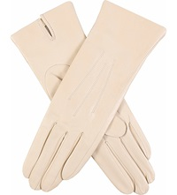 Dents Classic Silk Lined Leather Gloves Parchment