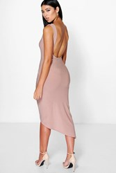 Boohoo Scoop Back Ruched Wrap Skirt Midi Dress Mocha