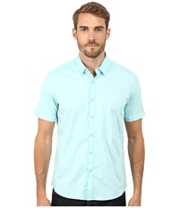 7 Diamonds Feel Free Top New Mint Men's Short Sleeve Button Up Blue