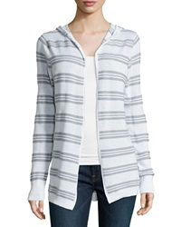 Minnie Rose Hooded Cotton Blend Striped Cardigan White Gray