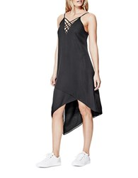 Guess Lace Up Asymmetrical Dress Black
