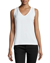French Connection Penny Plains V Neck Tank White