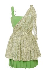 Ungaro Emanuel Peplum Mini Dress Green White