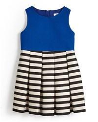 Milly Minis Pleated A Line Dress W Stripes Cobalt