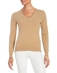 Lord And Taylor V Neck Cashmere Sweater Classic Camel Heather