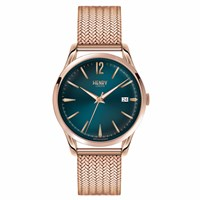 Henry London Unisex Stratford Watch With Stainless Steel Mesh Bracelet Green Rose Gold